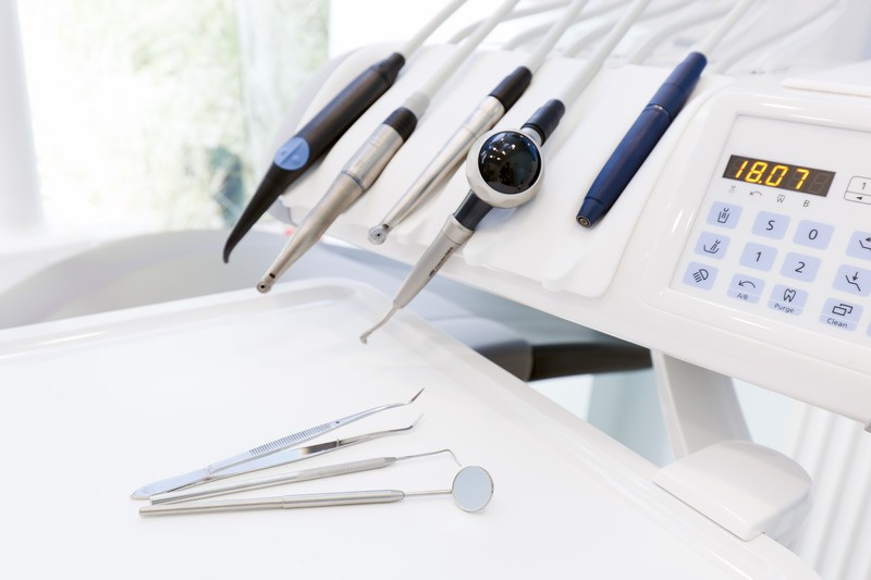 Equipment and dental instruments in dentistâ??s office. Tools close-up. Dentistry