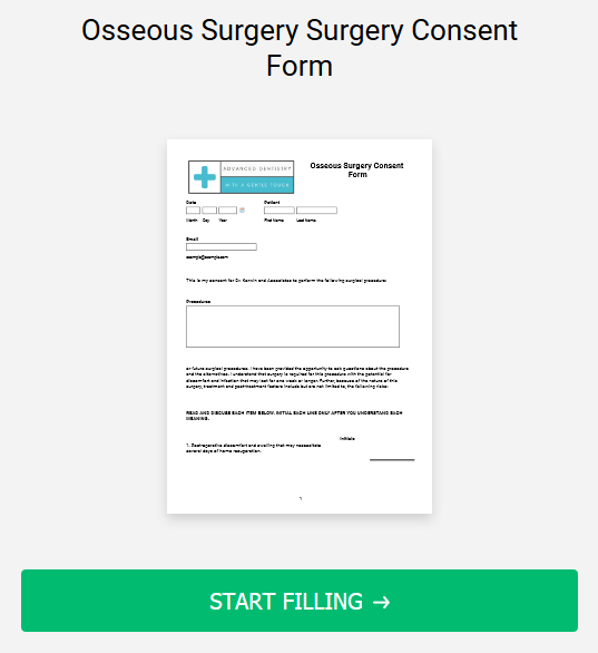Osseous Surgery Surgery Consent Form