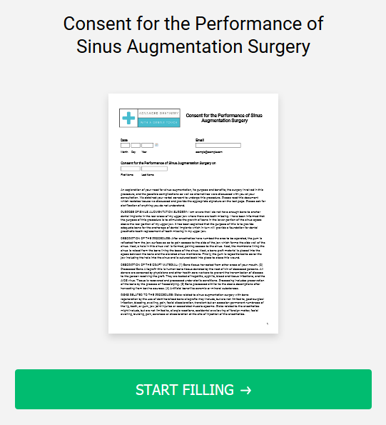 Consent for the Performance of Sinus Augmentation Surgery